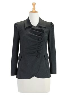 Womens military style jacket - fancy chef coat - ruffles!