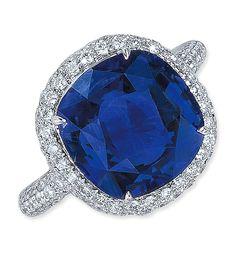 Cellini Jewelers Ceylon Sapphire Ring in Micropave diamond setting. Set in 18 karat white gold.