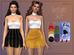 "trillyke: "" Spotlight Skirt A short, studded skirt, inspired by BLACKPINK's Rosé. ʕ•ᴥ•ʔ • custom thumbnail • comes in 12 swatches • base game compatible • edited EA mesh by me • please read and..."