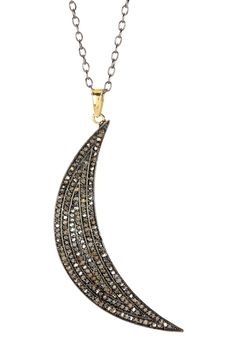 Pave Diamond Moon Necklace - 1.07 ctw on @HauteLook