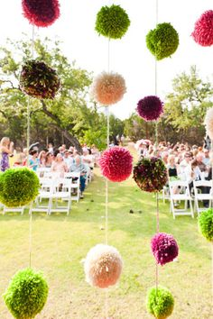 Yarn pom backdrop
