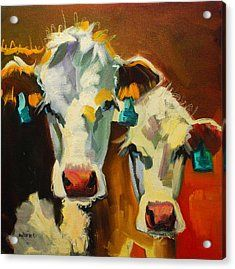 Sibling Cows Acrylic Print by Diane Whitehead