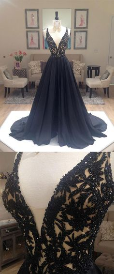 Black V Neck Chiffon beaded Long Prom Dress, black evening dress