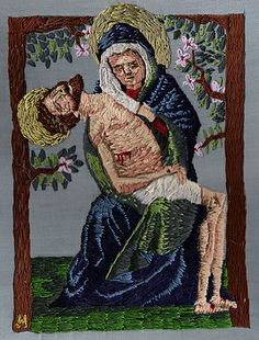 pieta embroidery. One of my earliest embroideries, this one was done for the back of a jacket of mine. Hand embroidered.