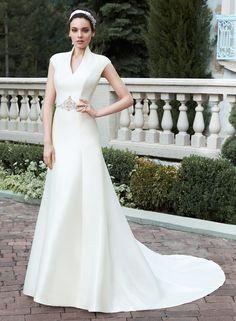 simples Linha A Gola Alta Contas Cauda Escova Cetim Vestidos de Noiva