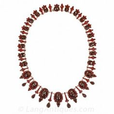 Victorian Bohemian Garnet Fringe Necklace