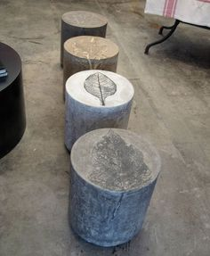 I would LOVE to have a few of these concrete stools to go around in the yard as extra, random seating!