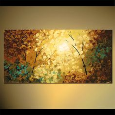 Textured Modern Blooming Tree Painting Forest por OsnatFineArt