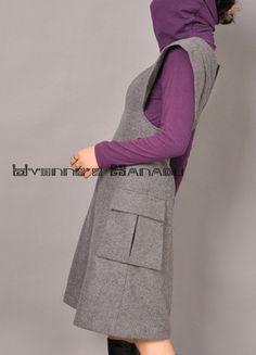 Grey Wool V-Neck Cape Sleeves A-Line Winter Dress Free Shipping International. via Etsy.