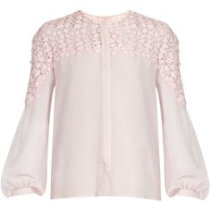 Giambattista Valli Collarless silk-georgette blouse ($1,381) ❤ liked on Polyvore featuring tops, blouses, light pink, sleeve blouse, pink top, light pink top, collarless blouse and blouson top