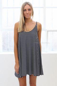 holly striped dress - black |