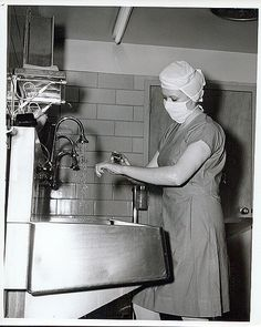 Unidentified Nurse scrubbing