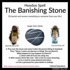 The Banishing Stone Witchcraft Spell Books, Wiccan Spell Book, Wiccan Witch, Witch Spell, Hoodoo Spells, Magick Spells, Jar Spells, Luck Spells, Money Spells