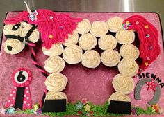 Horse Birthday Party Theme with cupcakes to personalize with birthdate and name of your little cowboy and cowgirl. Horse Birthday Parties, Cowgirl Birthday, Cowgirl Party, Birthday Ideas, 7th Birthday, Country Birthday, Birthday Cupcakes, Pull Apart Cupcake Cake, Pull Apart Cake