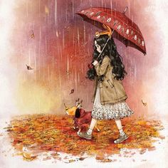 Autumn rain 가을비 Mister Rain is here in quite chilly weather. Leaves are turning redder and ginkgo leaves are turning yellower with the fall of autumn rain. Art And Illustration, Illustrations, Cartoon Kunst, Cartoon Art, Autumn Rain, Forest Girl, Image Manga, Wow Art, Korean Artist