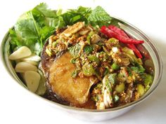 """Bla Chon Nam Tok Lui Suan  - Thai """"Fish Garden"""" - could make with pan-fried fish (or pan-fry with chili-egg coating, and light garlicky flour coating, then pan fry makes it seem deep fried, like daegujeong) instead of deep fried"""