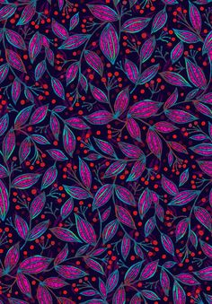 Red Berries Pink Leaves | Wagner Campelo | Society6