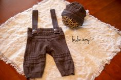 Newborn photo prop - Suspender Pant and Hat Set - Upcycled brown sweater via Etsy