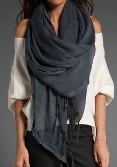 Off-the-shoulder sweater and drapey scarf. A little counterintuitive but looks cute - and that's what matters, obvi.