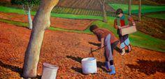 Planters onions - oil on canvas - 120x60 cm