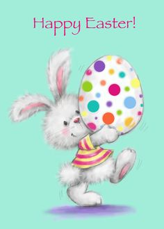 Happy Easter, Rabbit with Decorated Egg card. Personalize any greeting card for no additional cost! Cards are shipped the Next Business Day. Easter Bunny Images, Easter Art, Hoppy Easter, Easter Crafts, Cute Easter Pictures, Ostern Wallpaper, Easter Paintings, Easter Illustration, Easter Monday