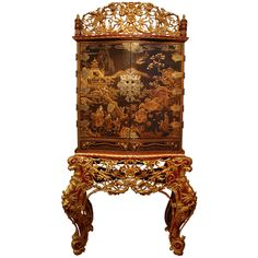 lacquered cabinet on peranakan gilt stand - LENGTH: 40 in. (102 cm)  DEPTH: 	22 in. (56 cm)  HEIGHT: 	6 ft. 10 in. (208 cm)