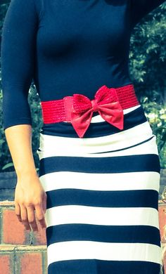 Braided Bowknot Belt in Red
