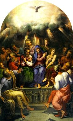 Girolamo da Carpi, The Pentecost, c. Jesus Mother, Blessed Mother, Mother Mary, Religious Icons, Religious Art, Rosary Mysteries, Holy Spirit Come, Day Of Pentecost, Catholic Pictures