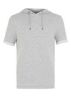 Grey Short Sleeve Hoodie - Men's Hoodies & Sweatshirts - Clothing - TOPMAN USA