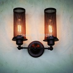 78.00$  Watch now - http://alivsw.worldwells.pw/go.php?t=2026680951 - Vintage Edison Style Simplicity Double-end Wire Mesh  Wall Sconce Cafe Bar Coffee Shop Bedside Hall Way Store Shop Club 78.00$