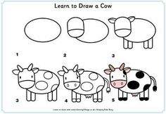 Children can learn to draw all their favourite farm animals with our fun step by step drawing lessons. Just print and copy! Easy Animal Drawings, Easy Drawings For Kids, Drawing For Kids, Art For Kids, Learn Drawing, Toddler Drawing, Baby Drawing, Doodle Drawings, Cartoon Drawings