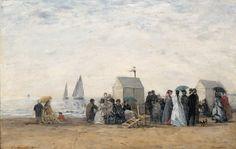 Eugène BOUDIN (1824-1898), La Plage de Trouville, 1867, huile sur bois, 31 x 48 cm. Paris, musée d'Orsay, donation du Dr Eduardo Mollard, 1961. © RMN-Grand Palais / Hervé Lewandowski