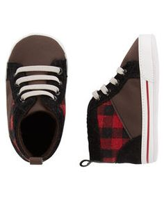 OshKosh Plaid High-Top Crib Shoes
