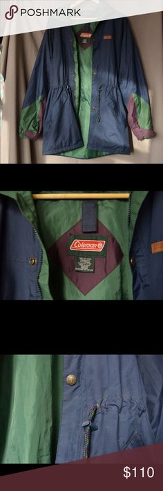Rare Vintage Coleman Outdoors Windbreaker, M The colors and details on this thing are amazing 💕the buttons, the leather patch, the drawstrings. In new old stock, unworn condition. Men's medium but fits like a large. This is not one I want to let go. Vintage Jackets & Coats Windbreakers