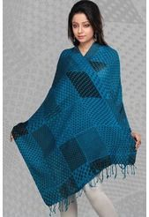 Teal Blue Woolen Printed Stole