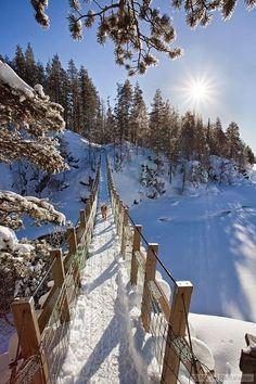 Snow bridge, Finland