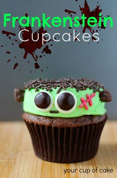 Frankenstein Cupcakes - adorable monster cupcakes! Use CandiQuik to help adhere his scary eyes! :)