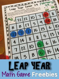 FREEBIE: A  math board game from Leap Year Math Games Freebie - contains 3 printable math games to celebrate the leap year on February 29.