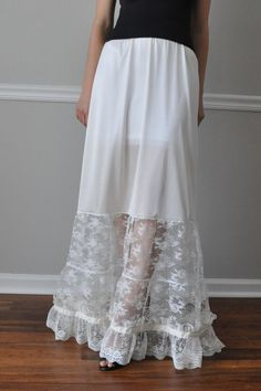 Slip Extender Long Tiered White Lace Steampunk Gothic