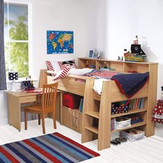 Browse our kids' bunk beds with 5 year warranty and assembly service! Our children's bunk beds come with great storage options and curtains for dens.