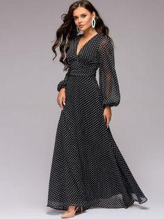93594d51c37 Printing Polka dots Zipper V-Neck Long Lantern Sleeves Maxi Dresses #Dress  #BohoDress