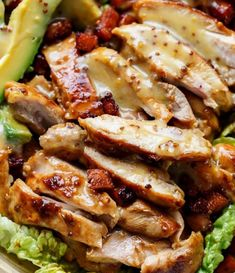 Honey Mustard Chicken Salad With Bacon & Avocado - Cafe Delites Avocado Cafe, Bacon Avocado, Avocado Salad, Avocado Food, Honey Mustard Chicken, Mustard Chicken Marinade, Chicken Salad Recipes, Grilled Chicken Salad, Baked Chicken