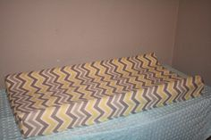 Yellow and Gray Chevron Contour Changing Pad Cover. $25.00, via Etsy.