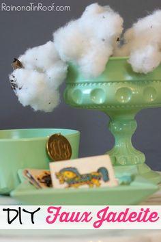 DIY Faux Jadeite from thrift store finds in 30 minutes via RainonaTinRoof.com #jadeite #faux #diy #crafts