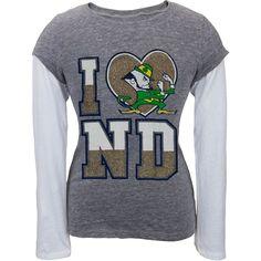 Notre Dame Fighting Irish - Heart Logo Girls Juvy Soft 2fer Long Sleeve T-Shirt