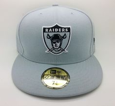 OAKLAND RAIDERS NFL NEW ERA 59 FIFTY LOGO FITTED GRAY HAT/CAP (SIZE 7 3/4)--NEW #NEWERA59FIFTY #OaklandRaiders