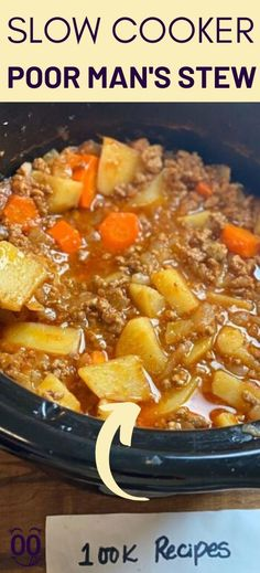 Slow Cooker Poor Man's Stew Slow Cooker Recipes, Cooking Recipes, Crockpot Meals, Sausage Crockpot, Vegan Recipes, Poor Man Stew Recipe, Side Dish Recipes, Recipes Dinner, Soup Recipes