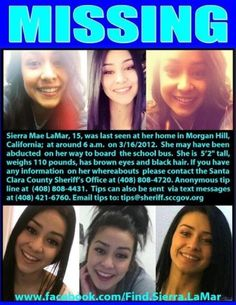 *** PLEASE REPOST ***  Please continue to pray for the safe return of Sierra Lamar.... Missing since Friday 3/16/12    PLEASE share her flyer with your friends. A online flyer is a excellent way to get the word out about a Missing Person. With todays technology it can be viewed literally anywhere, computers, Ipads, Cell phones, forwarded, downloaded and printed, etc. You can also tag your friends to the flyer which is another good way to spread the word quickly about a missing person