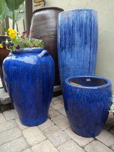 Large Blue Pots In Landscape Miami Real Estate Works Large Pots Ceramic Planters Large
