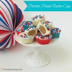 Easy to make 4th of July dessert - Patriotic Peanut Butter Cups tutorial by PartyPinching.com for @tablespoon